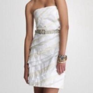 J.CREW Collection Ribbon Cut Wave Dress White New